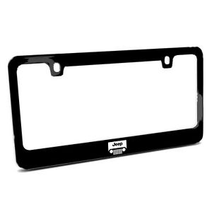 Jeep Grill Logo Black Metal License Plate Frame Made In Usa