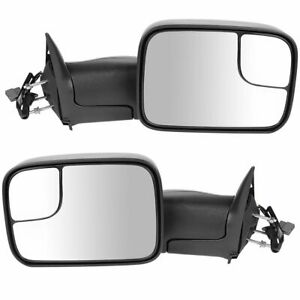 Towing Mirror Power Textured Black Pair Set For 94 97 Dodge Ram Pickup New