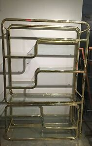 Mid Century Modern Brass Glass Etagere Display Shelves Mcm