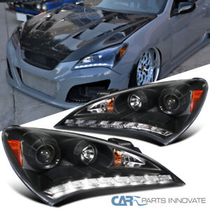 For 10 12 Hyundai Genesis Coupe Black Smd Led Drl Projector Headlights Lamps