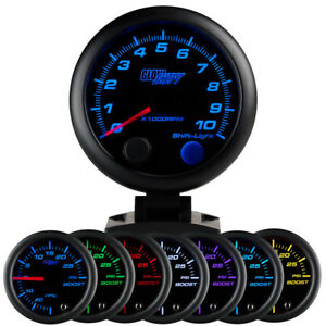 95mm Glowshift Black Face Multi Color Tacho Rpm Rev Counter Tachometer Gauge