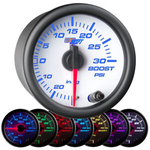52mm Glowshift White 7 Turbo Boost Vacuum Pressure Gauge W 7 Led Colors