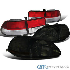 For Honda 96 98 Civic 2dr Coupe Smoke Headlights Red Clear Rear Tail Brake Lamps