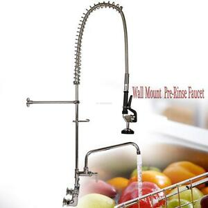 Commercial Wall Mount Pre Rinse Faucet W 12 Add On Sink Hotel Restaurant