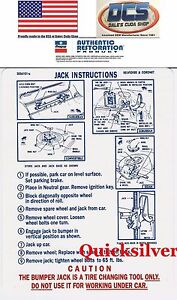 1968 Road Runner Gtx Satellite Jacking Instructions Trunk Lid Decal New Mopar
