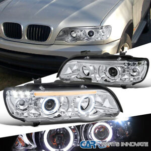 01 03 Bmw E53 X5 Dual Halo Led Clear Projector Headlights Head Lights Lamps Pair