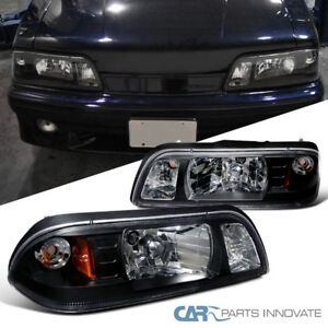Ford 1987 1993 Mustang Replacement Black Euro 1 Piece Style Headlights Lamps