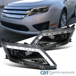 2010 2012 Ford Fusion Black Led Drl Front Driving Lamps Projector Headlights