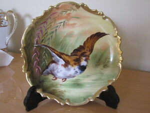 Antique Limoges Coronet Hand Painted Plate Charger Bird Signed Luc
