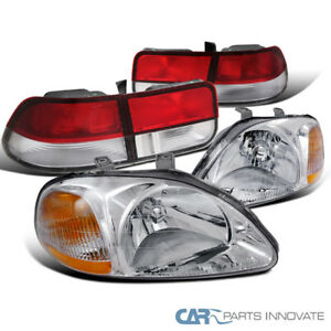 Fit Honda 96 98 Civic 2dr Coupe Clear Headlights Headlamps Red Clear Tail Lamps