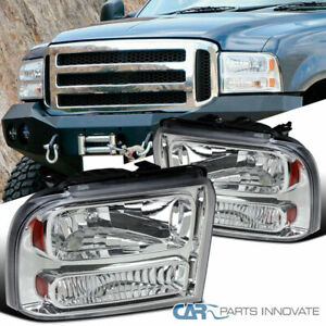 Ford 05 07 F250 f350 f450 f550 Superduty 05 Excursion Chrome Clear Headlights