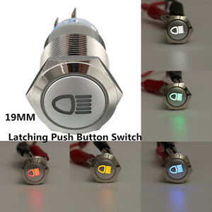 12v 19mm 5 Pin Led Push Button Metal Latching Switch For Car Fog Lights On Off