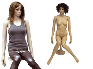 Plastic Durable Mannequin Sitting Display Dress Form Movable Head Ps g6 free Wig