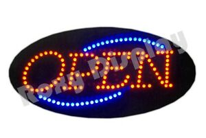 Big Bright Open Led Sign Red Blue Flash op122 ac
