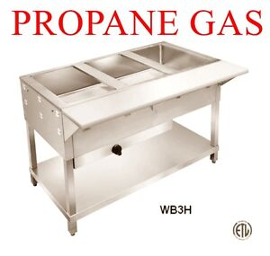 4 Foot Wide Stainless Steam Table Propane Lp Gas For Food Truck W Cutting Board