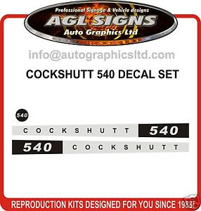 Cockshutt 540 Tractor Decal Set Reprocduction
