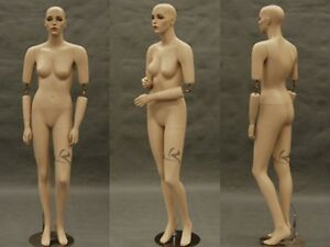 Flexible Arms Fiberglass Female Mannequin Fleshtone With Make up Display sara md