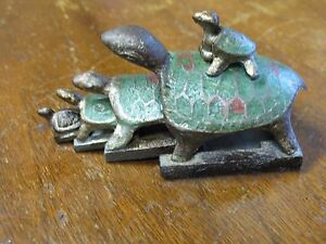 Vintage Antique Chinese Bronze Nesting Turle Wax Seal Stamp Set W Enamel