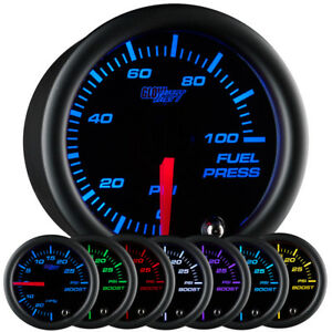 52mm Glowshift Black 7 Color Led Electronic Fuel Pressure 0 100psi Gauge
