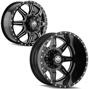 Set Of 6 Mayhem 8101 Monstir Dually 22 8x210 Black Wheels Rims Lugs Included