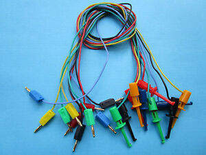 100x Gold Plated 2mm Banana Plug To Small Test Hook Clip Lead Cable 5 Color 50cm