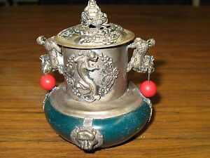 Vintage Chinese Incense Burner Jade Inlaid Tibetan Silver Buddha Dragon Lion Foo