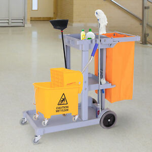 Janitorial Cleaning Cart Rolling Janitor Ultility Cart W 3 Shelves