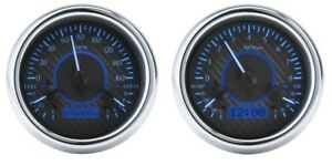 Dakota Digital Universal Dual Round Analog Gauge System Carbon Blue Vhx 1014 c b