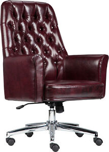 Lot Of 8 Conference Table Mid Back Tufted Burgundy Leather Chair