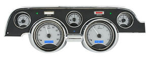 Dakota Digital 1967 68 Ford Mustang Analog Gauge Kit Silver Blue Vhx 67f mus s b