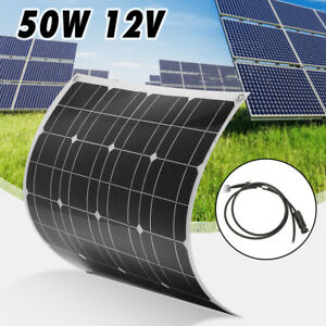 50w 12v Mono Flexible Solar Panel Battery Charger Cable For Rv Boat Motorhome
