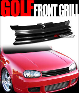 For 1999 2005 Mk4 Golf Gti Gloss Blk Front Badgeless Grill Grille W Notch Filler