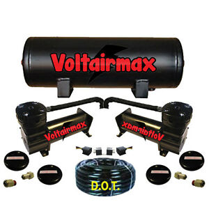 Voltair 444c Black Air Compressors 5 Gallon Air Tank Ride Bag Kit 200psi