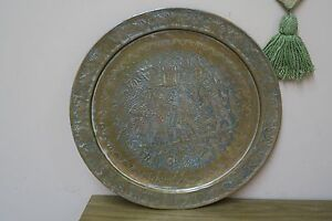 Vintage Copper Hand Etched Persepolis Kings Persian Tray Ghalamzani 19 Plate