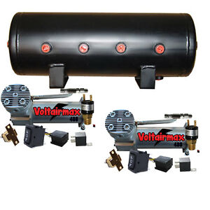 444c Chrome Dual Air Compressors 5 Gallon Air Tank Kit Parts Press Switch