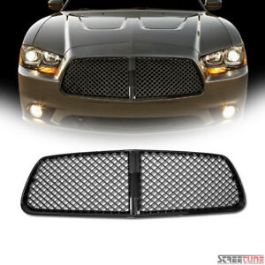 For 11 14 Dodge Charger Black Honeycomb Mesh Front Hood Bumper Grill Grille Abs
