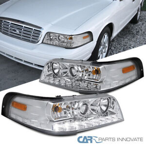 For Ford 98 11 Crown Victoria Clear Lens Smd Led Strip Projector Headlights Pair