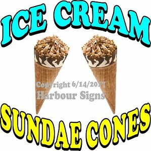 Ice Cream Sundae Cones Decal choose Your Size Food Truck Concession Sticker