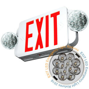 Led Exit Sign Emergency Light High Output Red Compact Combo Ul Combo Lig