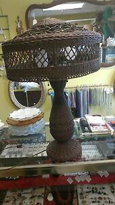 Antique Arts Crafts Wicker Table Lamp Stickley