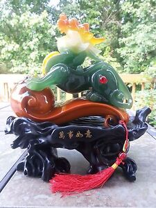 11 H Chinese Feng Shui Gilt Wealth Dragon Pixiu Statue