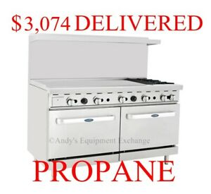 60 Inch 5 Foot Gas Range 2 Burners With 48 Left Side Griddle 2 Ovens Propane