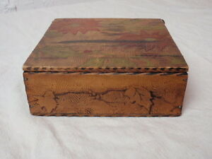 Antique Pyrography Box Wood Burning Craft 1900s Poinsettia Red Green Leaves 6