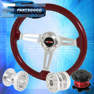 Red Wood Steering Wheel Quick Release Chrome Hub Extender For 86 01 Integra