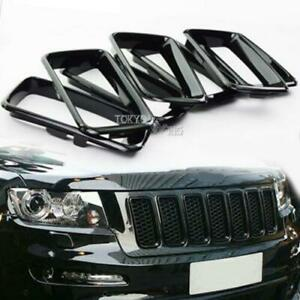 For 2014 2016 Jeep Grand Cherokee Black Grill Grille Inserts Ring Kit 7pcs set