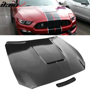 Fits 15 17 Ford Mustang 2dr Gt350 Style Steel Front Hood Black