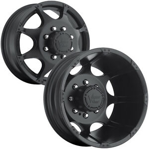 Set Of 4 Vision 715 Crazy Eightz Dually 16x6 8x165 1 8x6 5 Black Wheels Rims