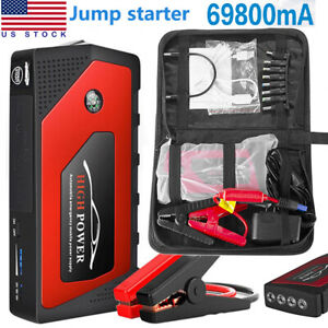 12v Car Jump Starter Portable Usb Power Bank Battery Booster Clamp 600a 69800mah