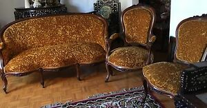 Antique French Louis Xv Furniture Set Camel Color Rosewood Sofa 4 Chairs