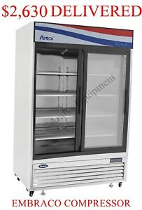 Double two 2 Sliding Glass Doors Commercial Refrigerator Cooler Merchandiser